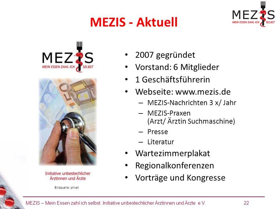 MEZIS – Mein Essen zahl ich selbst. Initiative unbestechlicher Ärztinnen und Ärzte e.V. 22 MEZIS - Aktuell 2007 gegründet Vorstand: 6 Mitglieder 1 Ges