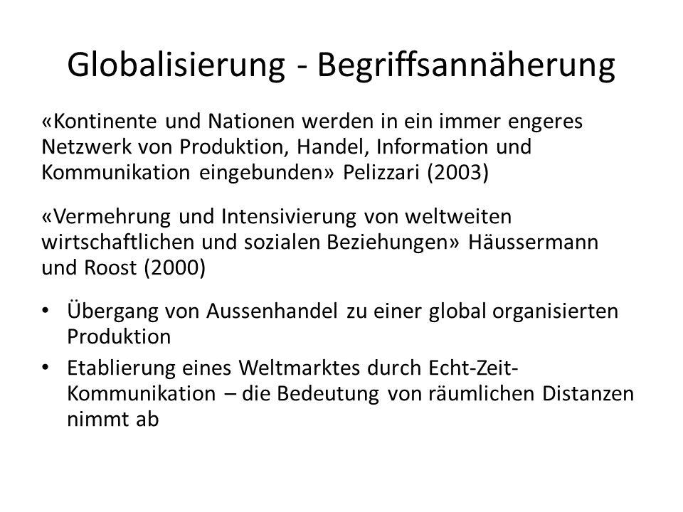 Globalisierung - Begriffsannäherung «Kontinente und Nationen werden in ein immer engeres Netzwerk von Produktion, Handel, Information und Kommunikatio