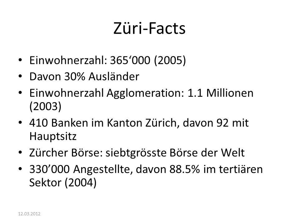 Züri-Facts Einwohnerzahl: 365'000 (2005) Davon 30% Ausländer Einwohnerzahl Agglomeration: 1.1 Millionen (2003) 410 Banken im Kanton Zürich, davon 92 mit Hauptsitz Zürcher Börse: siebtgrösste Börse der Welt 330'000 Angestellte, davon 88.5% im tertiären Sektor (2004) 12.03.2012