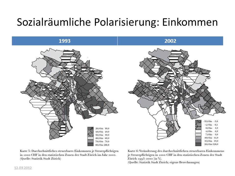 Sozialräumliche Polarisierung: Einkommen 19932002 12.03.2012