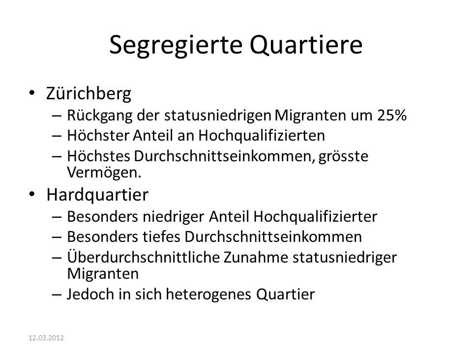 Segregierte Quartiere Zürichberg – Rückgang der statusniedrigen Migranten um 25% – Höchster Anteil an Hochqualifizierten – Höchstes Durchschnittseinkommen, grösste Vermögen.