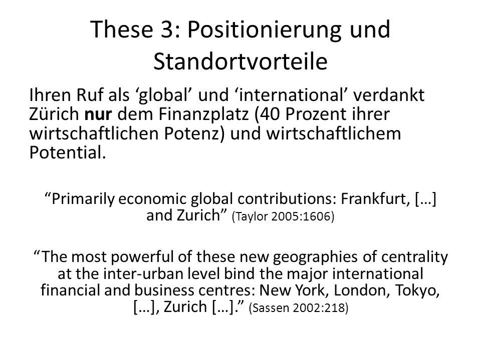 These 3: Positionierung und Standortvorteile Ihren Ruf als 'global' und 'international' verdankt Zürich nur dem Finanzplatz (40 Prozent ihrer wirtscha