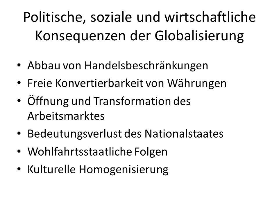 Politische, soziale und wirtschaftliche Konsequenzen der Globalisierung Abbau von Handelsbeschränkungen Freie Konvertierbarkeit von Währungen Öffnung und Transformation des Arbeitsmarktes Bedeutungsverlust des Nationalstaates Wohlfahrtsstaatliche Folgen Kulturelle Homogenisierung