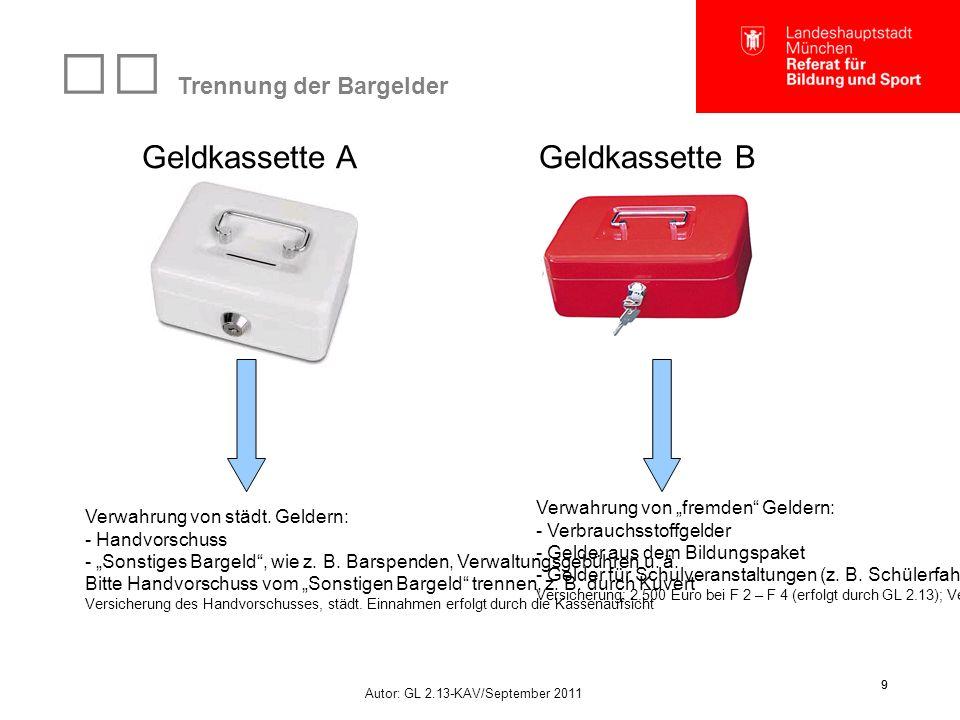 """Autor: GL 2.13-KAV/September 2011 9 9 Trennung der Bargelder Geldkassette AGeldkassette B Verwahrung von städt. Geldern: - Handvorschuss - """"Sonstiges"""