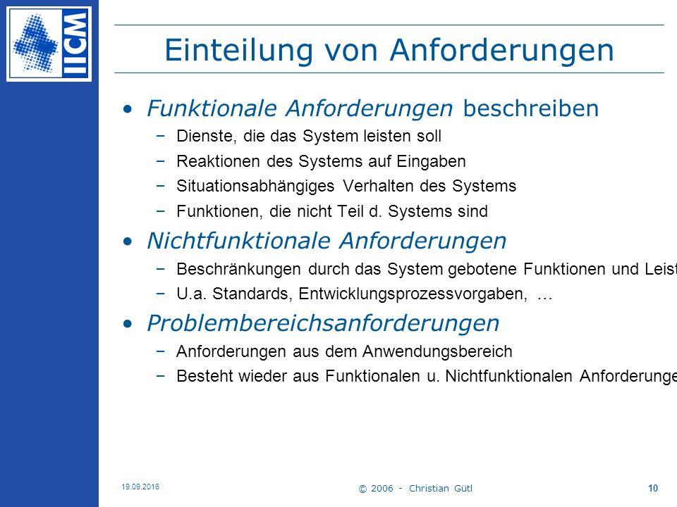 © 2006 - Christian Gütl 19.09.2016 10 Einteilung von Anforderungen Funktionale Anforderungen beschreiben –Dienste, die das System leisten soll –Reakti