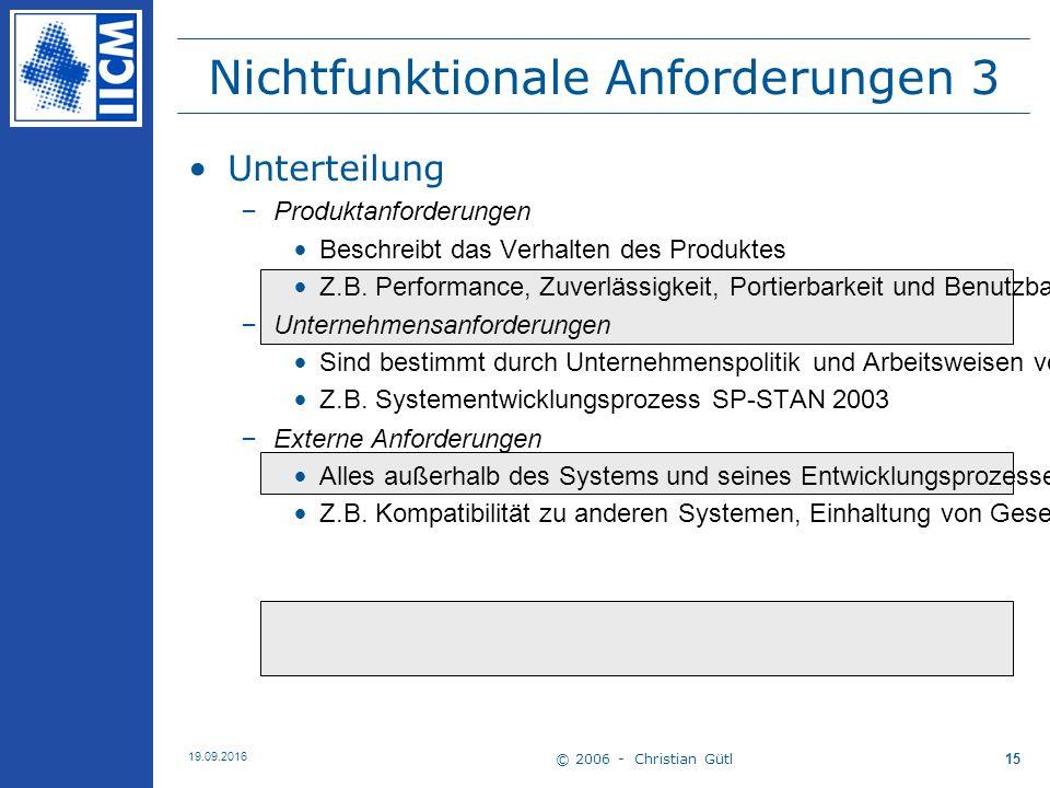 © 2006 - Christian Gütl 19.09.2016 15 Nichtfunktionale Anforderungen 3 Unterteilung –Produktanforderungen Beschreibt das Verhalten des Produktes Z.B.