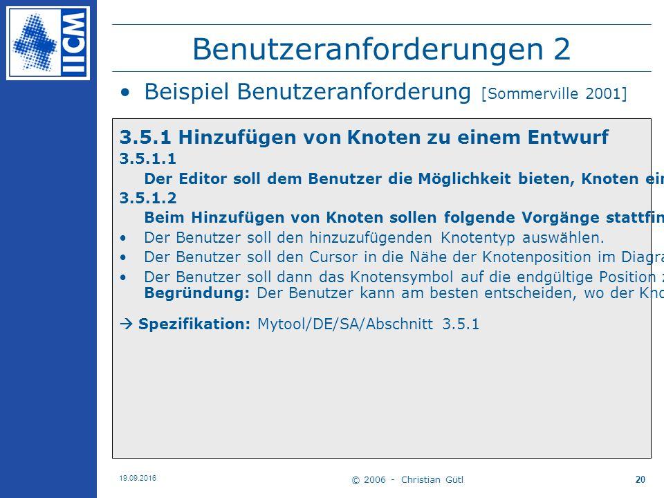 © 2006 - Christian Gütl 19.09.2016 20 Benutzeranforderungen 2 Beispiel Benutzeranforderung [Sommerville 2001] 3.5.1 Hinzufügen von Knoten zu einem Entwurf 3.5.1.1 Der Editor soll dem Benutzer die Möglichkeit bieten, Knoten eines bestimmten Typs zu ihrem Entwurf hinzuzufügen 3.5.1.2 Beim Hinzufügen von Knoten sollen folgende Vorgänge stattfinden Der Benutzer soll den hinzuzufügenden Knotentyp auswählen.