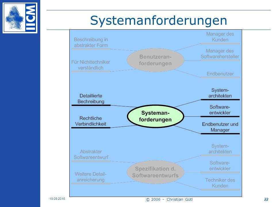 © 2006 - Christian Gütl 19.09.2016 22 Systemanforderungen