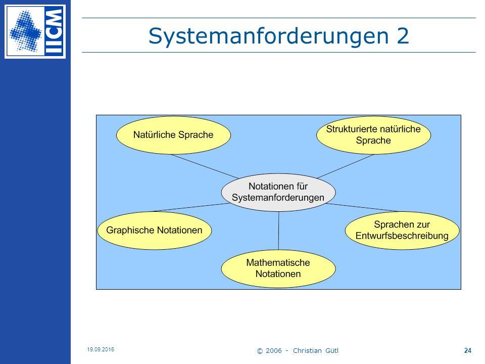 © 2006 - Christian Gütl 19.09.2016 24 Systemanforderungen 2