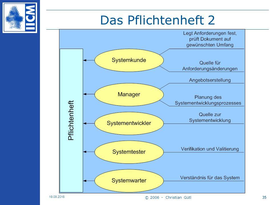 © 2006 - Christian Gütl 19.09.2016 35 Das Pflichtenheft 2