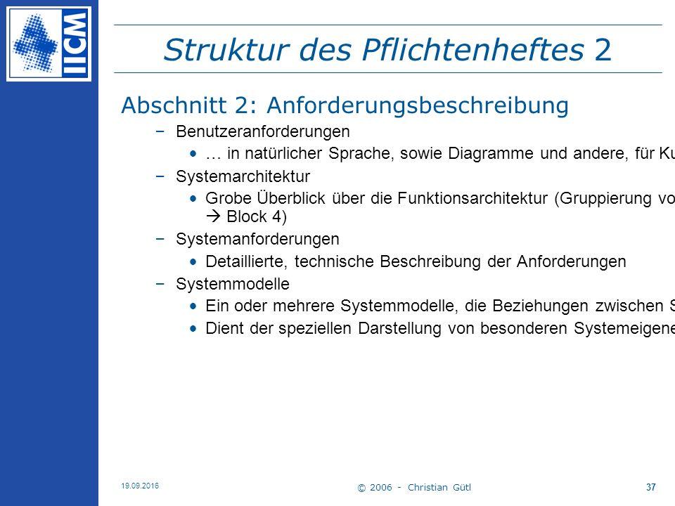 © 2006 - Christian Gütl 19.09.2016 37 Struktur des Pflichtenheftes 2 Abschnitt 2: Anforderungsbeschreibung –Benutzeranforderungen … in natürlicher Spr