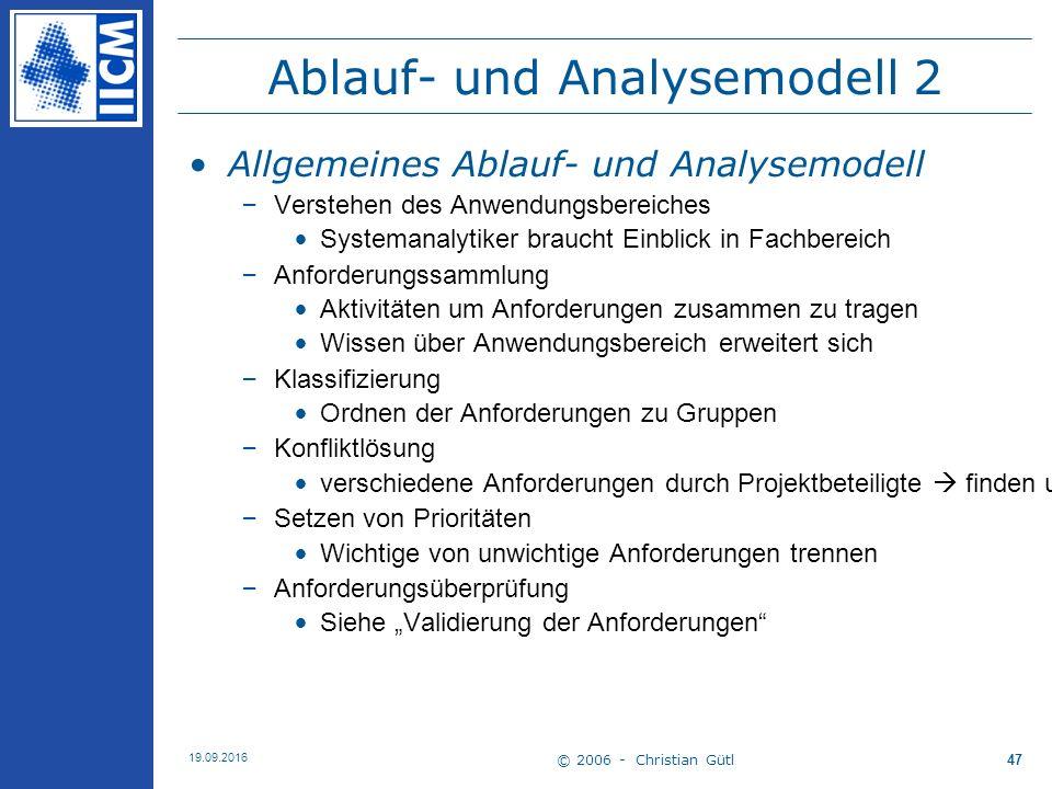 © 2006 - Christian Gütl 19.09.2016 47 Ablauf- und Analysemodell 2 Allgemeines Ablauf- und Analysemodell –Verstehen des Anwendungsbereiches Systemanaly