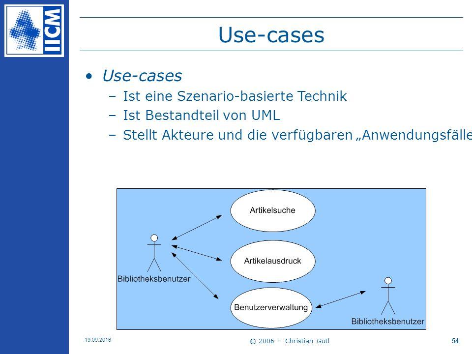 """© 2006 - Christian Gütl 19.09.2016 54 Use-cases –Ist eine Szenario-basierte Technik –Ist Bestandteil von UML –Stellt Akteure und die verfügbaren """"Anwendungsfälle dar  Details durch Textbeschreibung od."""