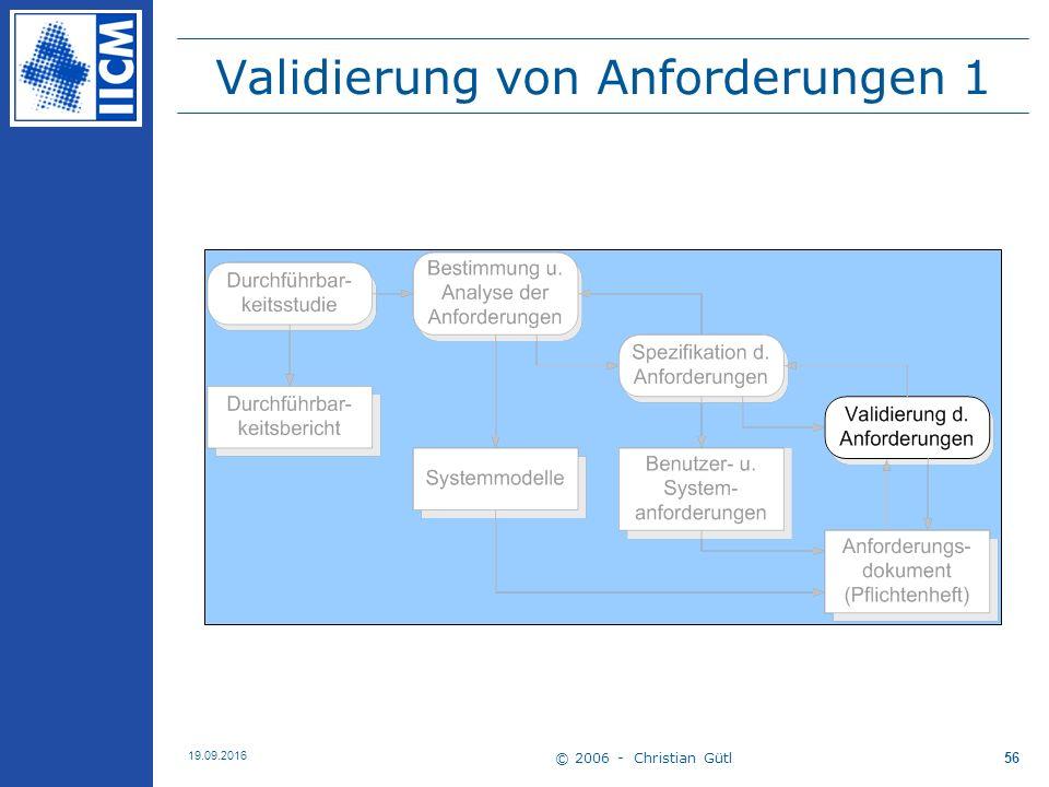 © 2006 - Christian Gütl 19.09.2016 56 Validierung von Anforderungen 1