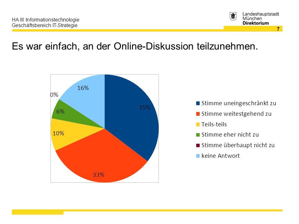 8 HA III Informationstechnologie Geschäftsbereich IT-Strategie Ich habe die Online-Diskussionen als qualitativ hochwertig empfunden.