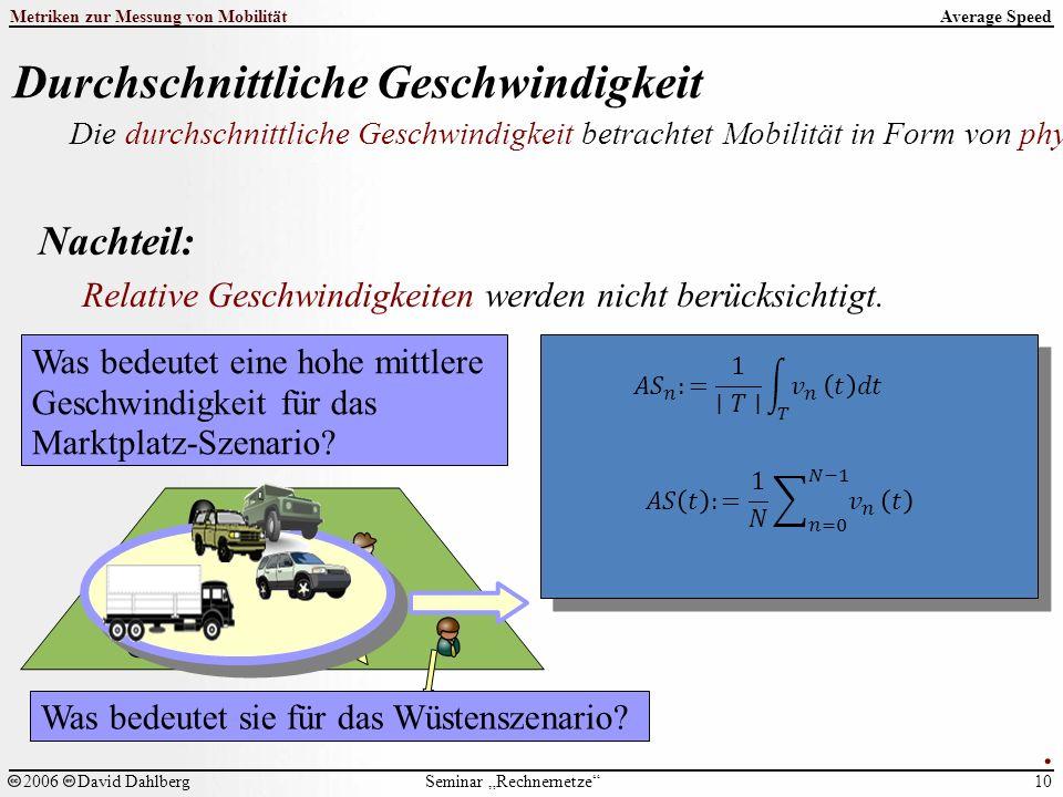 """Seminar """"Rechnernetze Metriken zur Messung von Mobilität 10 2006David Dahlberg Average Speed Durchschnittliche Geschwindigkeit Die durchschnittliche Geschwindigkeit betrachtet Mobilität in Form von physikalischer Bewegung der Einzelknoten."""