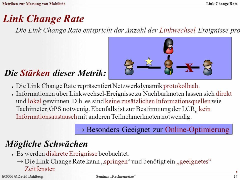 """Seminar """"Rechnernetze Metriken zur Messung von Mobilität 14 2006David Dahlberg Link Change Rate Die Link Change Rate entspricht der Anzahl der Linkwechsel-Ereignisse pro Zeiteinheit."""