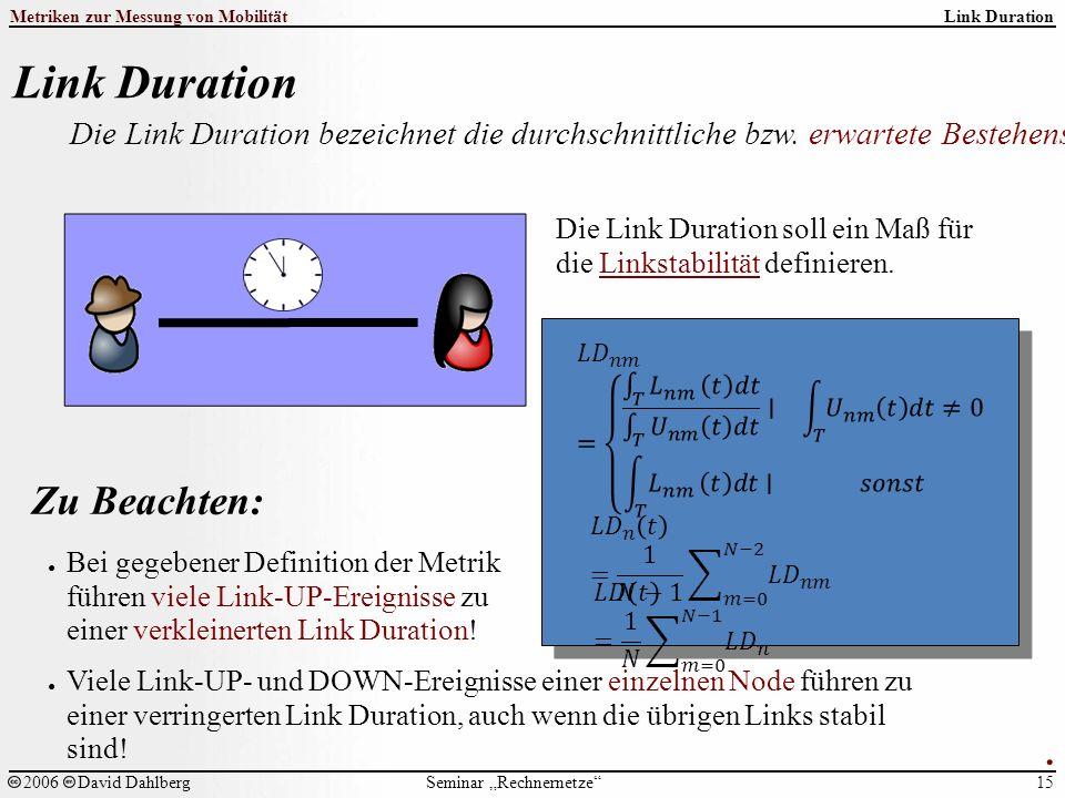 """Seminar """"Rechnernetze Metriken zur Messung von Mobilität 15 2006David Dahlberg Link Duration Die Link Duration bezeichnet die durchschnittliche bzw."""
