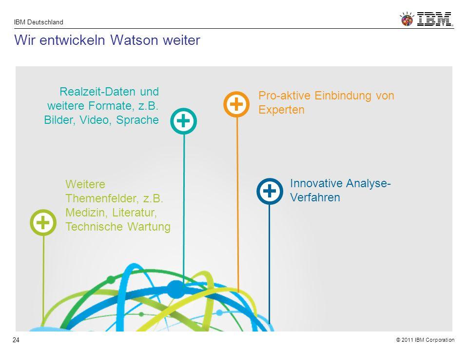 © 2011 IBM Corporation IBM Deutschland 24 Wir entwickeln Watson weiter Weitere Themenfelder, z.B.