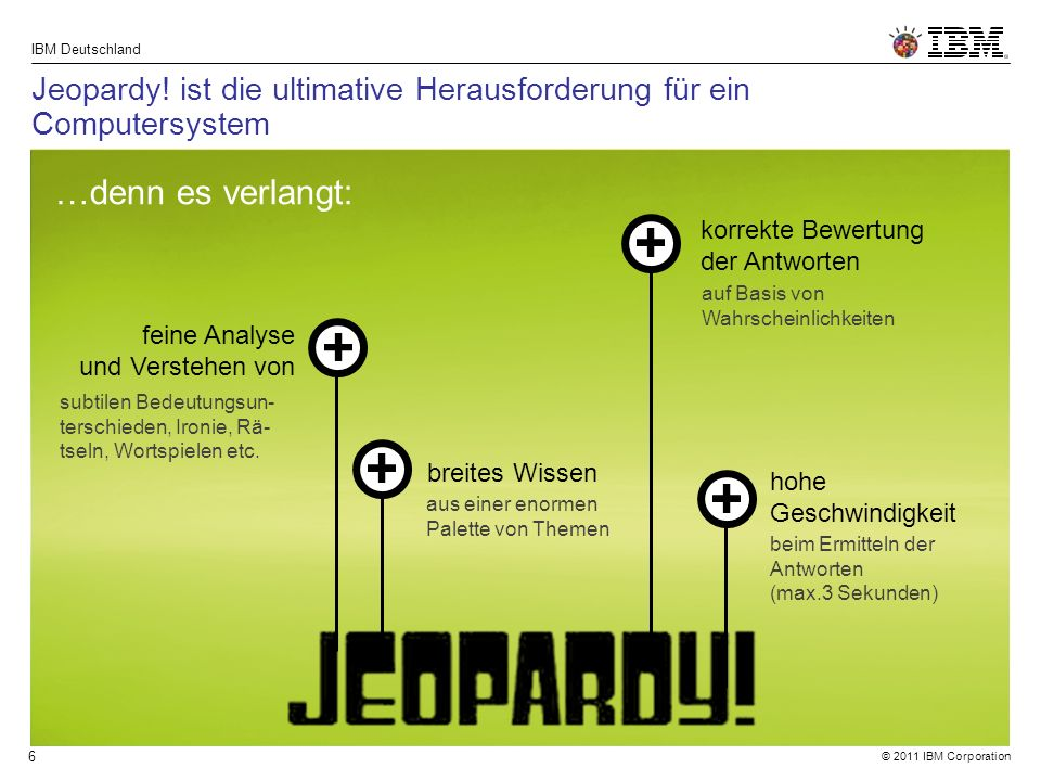 © 2011 IBM Corporation IBM Deutschland 6 Jeopardy.