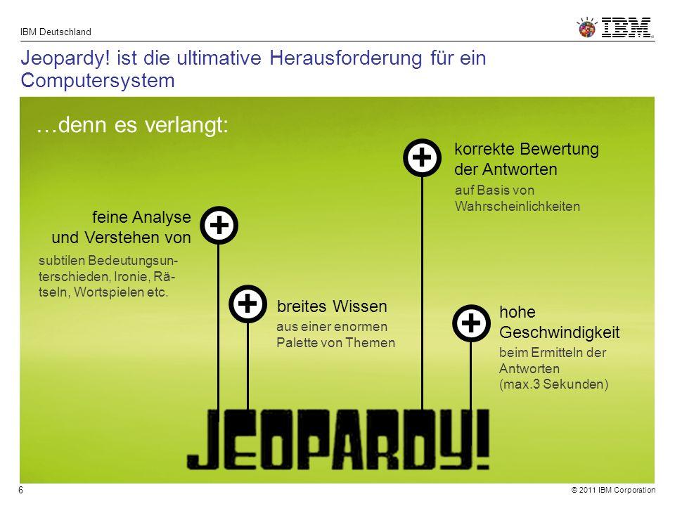 © 2011 IBM Corporation IBM Deutschland 27 IBM Watson ist ein Research & Development Projekt $6Mrd.
