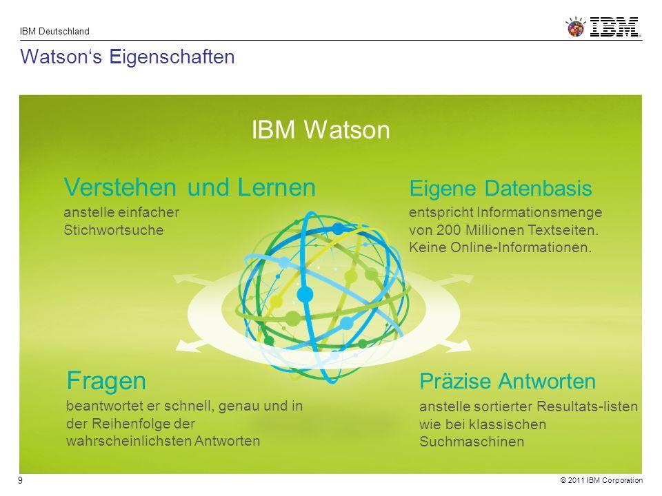 © 2011 IBM Corporation IBM Deutschland 9 Watson's Eigenschaften IBM Watson Verstehen und Lernen anstelle einfacher Stichwortsuche Fragen beantwortet er schnell, genau und in der Reihenfolge der wahrscheinlichsten Antworten Eigene Datenbasis entspricht Informationsmenge von 200 Millionen Textseiten.