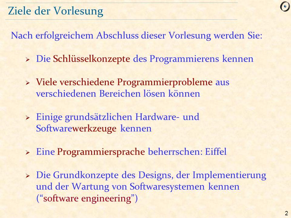 93 Warum wir Eiffel benutzen  Einfaches, reines Objektmodell  Design by Contract Mechanismen  Erlaubt Ihnen auf Begriffe, nicht die Sprache selbst, zu fokussieren  Geringes «Sprachgepäck»  Gute Entwicklungsumgebung (EiffelStudio)  Portabilität: Windows / Linux / Mac  Realismus: Eiffel ist keine «akademische» Sprache Eiffel bereitet Sie darauf vor, andere O-O Sprachen wenn nötig zu studieren, z.B.