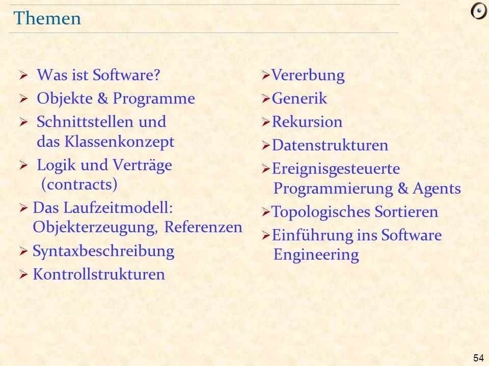 54 Themen  Was ist Software?  Objekte & Programme  Schnittstellen und das Klassenkonzept  Logik und Verträge (contracts)  Das Laufzeitmodell: Obj