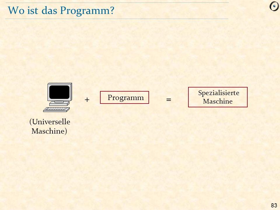 83 Wo ist das Programm? Programm (Universelle Maschine) += Spezialisierte Maschine