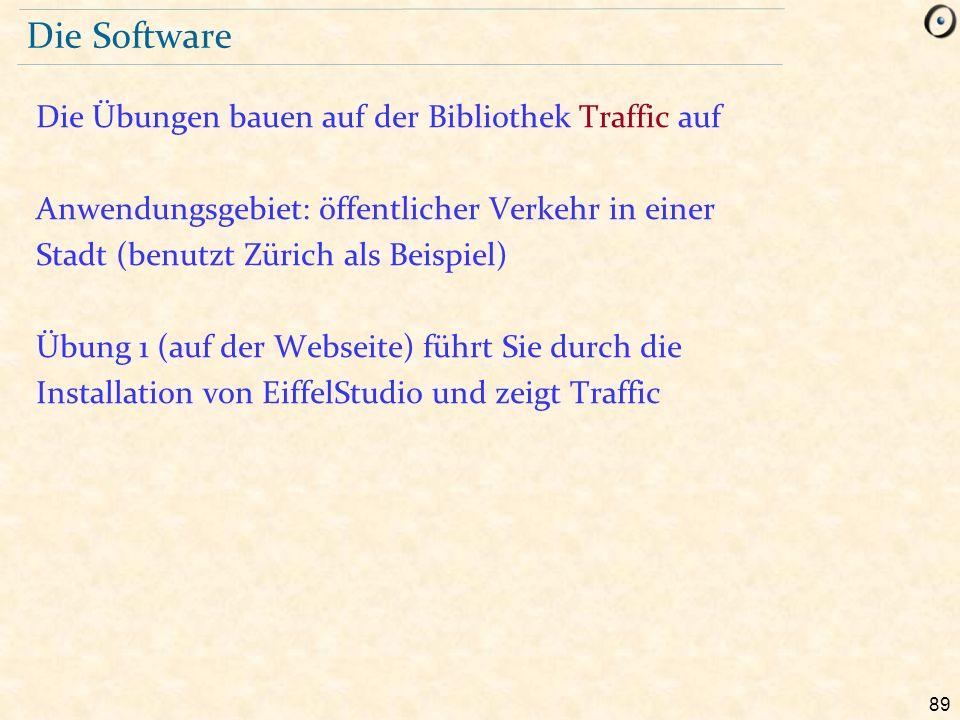 89 Die Software Die Übungen bauen auf der Bibliothek Traffic auf Anwendungsgebiet: öffentlicher Verkehr in einer Stadt (benutzt Zürich als Beispiel) Ü