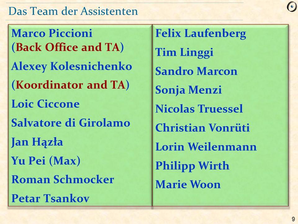 30 Sprachen Unsere Assistenten sprechen verschiedene Sprachen:  Deutsch  Englisch  Italienisch  Chinesisch  Russisch  … Die Übungsgruppen werden auf deutsch oder auf englisch gehalten.