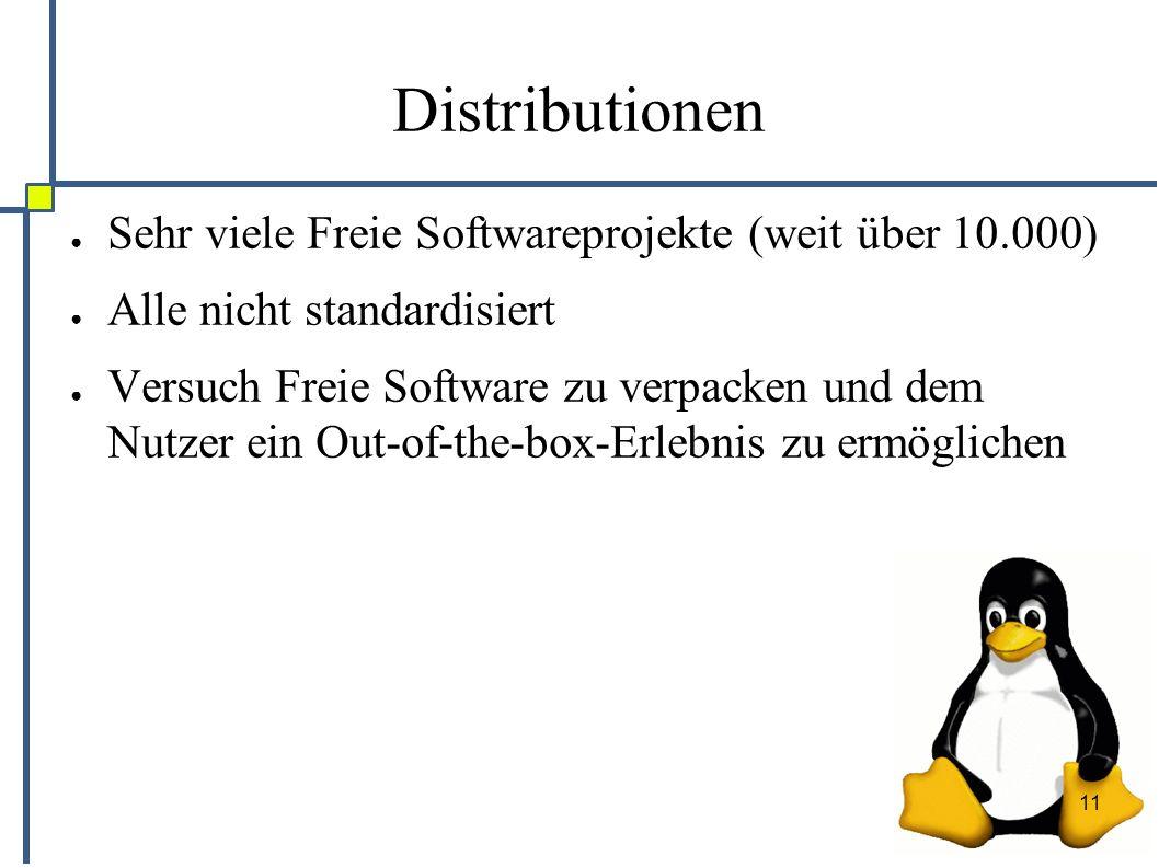 11 Distributionen ● Sehr viele Freie Softwareprojekte (weit über 10.000) ● Alle nicht standardisiert ● Versuch Freie Software zu verpacken und dem Nutzer ein Out-of-the-box-Erlebnis zu ermöglichen
