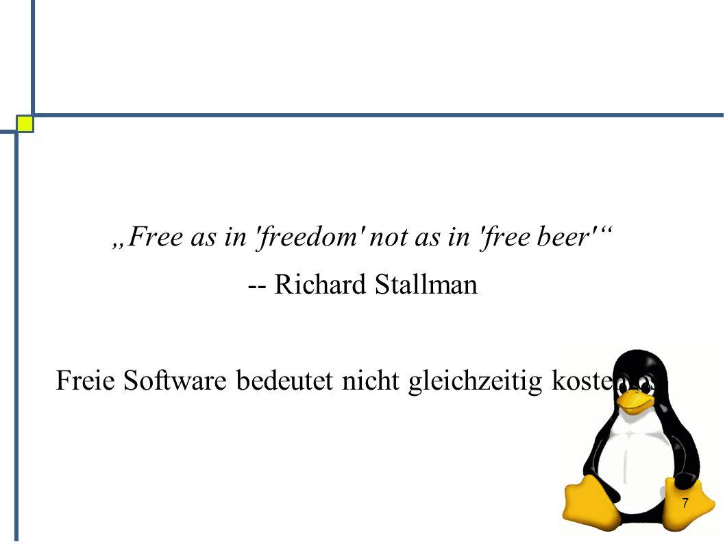 8 Geschichte ● Richard Stallman begründetet die Freie Software 27.08.1983 mit dem GNU Projekt ● Linus Torvalds steuerte 1991 den Kernel Linux 0.1 hinzu ● Mittlerweile gibt es sehr viel Software, die unter eine freie Lizenz gestellt wurde ● Auch kommerzielle Anbieter unterstützen Open Source