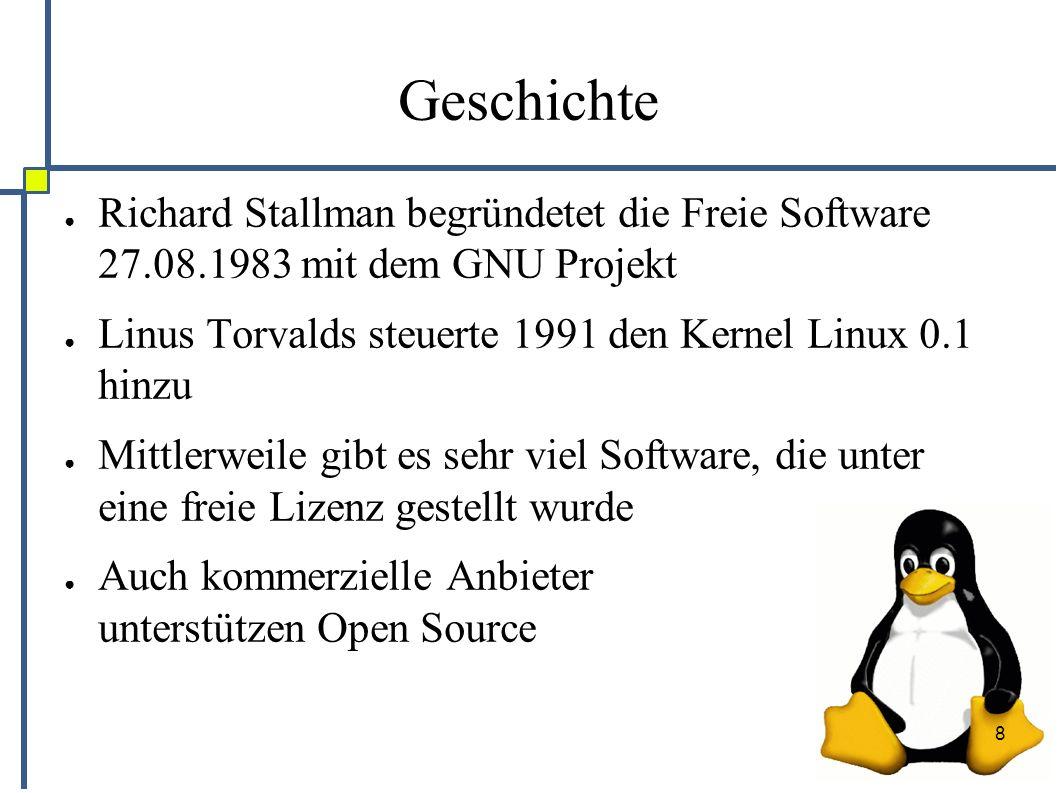 """9 GNU ● GNU = """"GNU is not Unix ● Ziel: Implementierung eines freien Betriebssystems (GNU Hurd) ● Idee: Implementierung aller Unixwerkzeuge auf einer freien Basis ● Errungenschaft: General Public License ● Ziel nie wirklich erreicht"""
