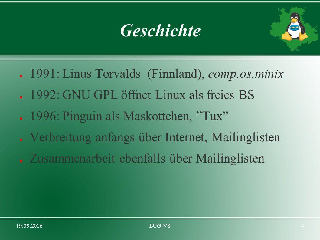 19.09.2016LUG-VS4 Geschichte ● 1991: Linus Torvalds (Finnland), comp.os.minix ● 1992: GNU GPL öffnet Linux als freies BS ● 1996: Pinguin als Maskottchen, Tux ● Verbreitung anfangs über Internet, Mailinglisten ● Zusammenarbeit ebenfalls über Mailinglisten