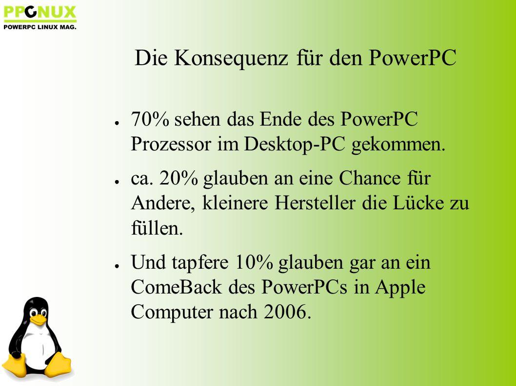 Die Konsequenz für den PowerPC ● 70% sehen das Ende des PowerPC Prozessor im Desktop-PC gekommen.
