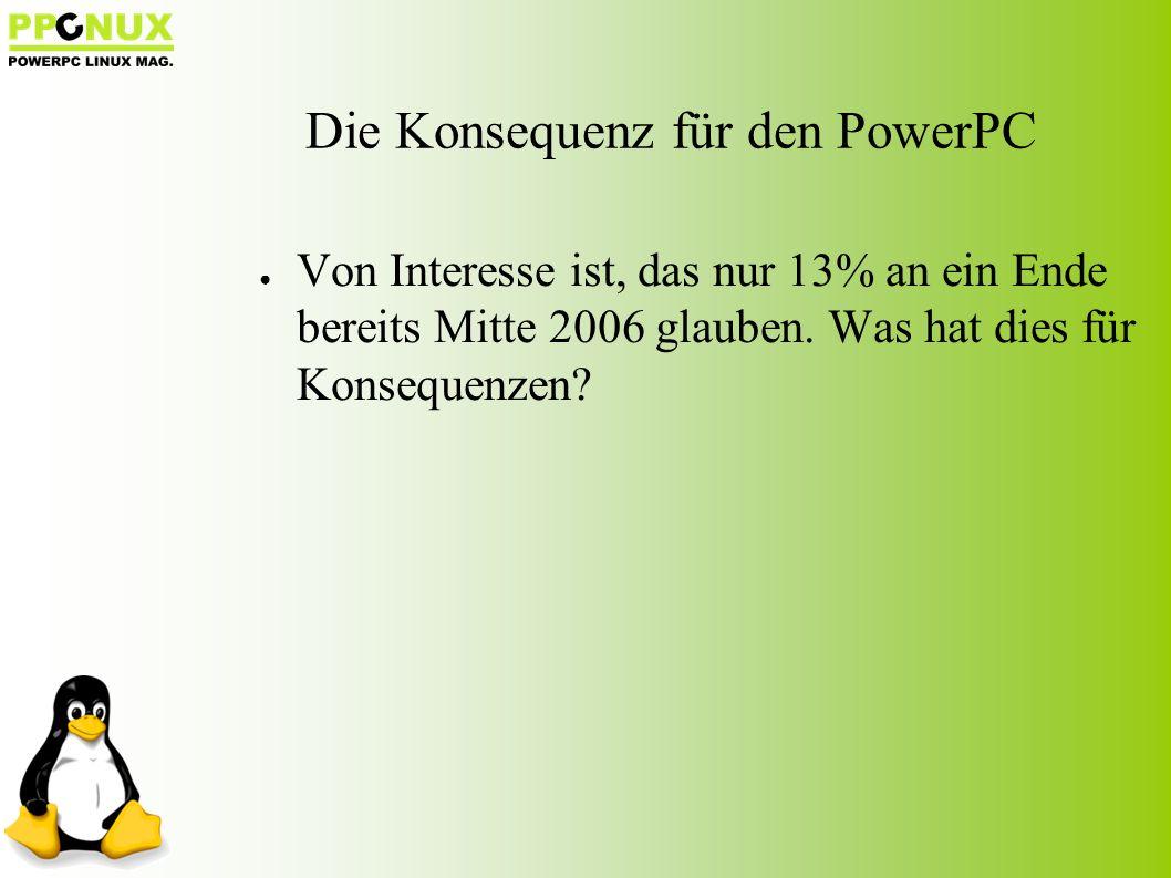 Die Konsequenz für den PowerPC ● Von Interesse ist, das nur 13% an ein Ende bereits Mitte 2006 glauben.