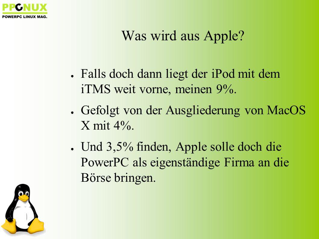 Was wird aus Apple. ● Falls doch dann liegt der iPod mit dem iTMS weit vorne, meinen 9%.