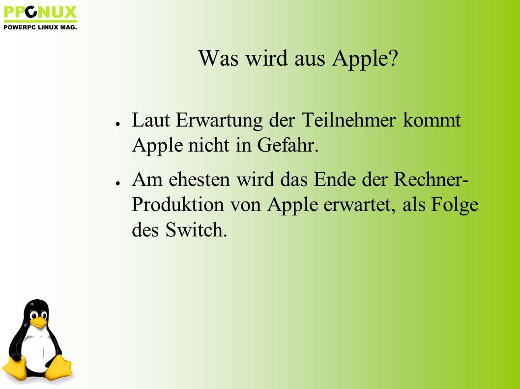 ● Laut Erwartung der Teilnehmer kommt Apple nicht in Gefahr.