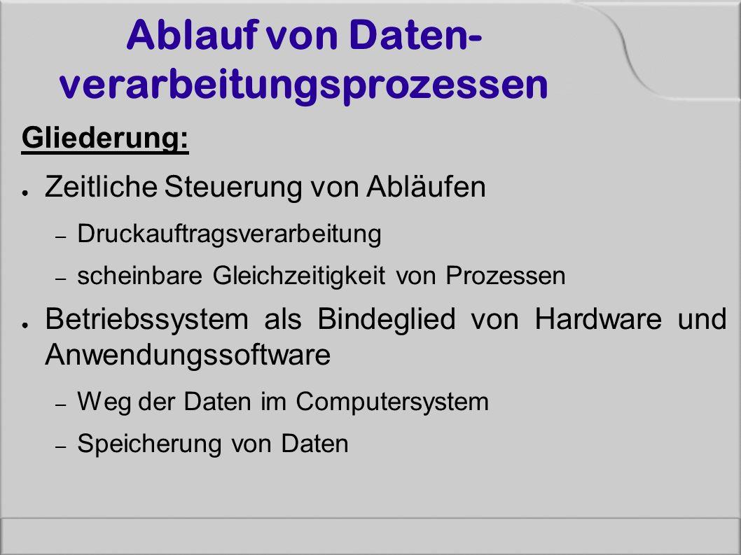 Ablauf von Daten- verarbeitungsprozessen Gliederung: ● Zeitliche Steuerung von Abläufen – Druckauftragsverarbeitung – scheinbare Gleichzeitigkeit von