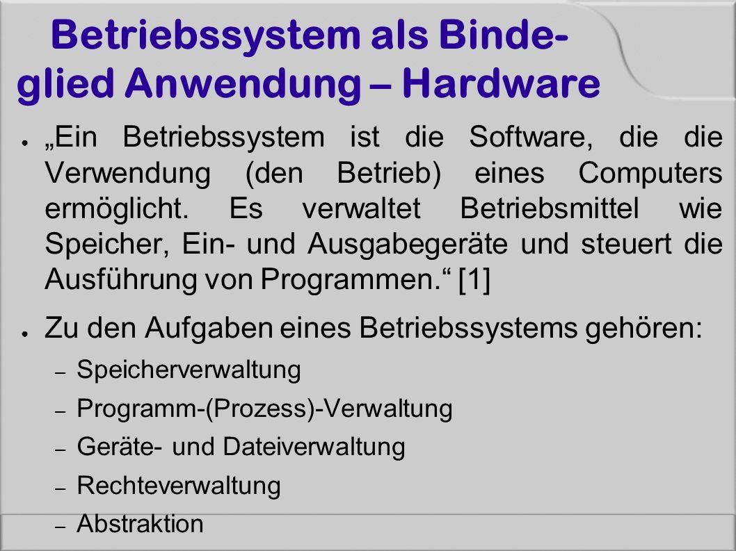 """Betriebssystem als Binde- glied Anwendung – Hardware ● """"Ein Betriebssystem ist die Software, die die Verwendung (den Betrieb) eines Computers ermöglicht."""