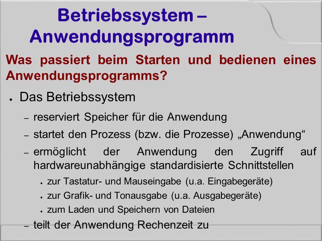 Betriebssystem – Anwendungsprogramm Was passiert beim Starten und bedienen eines Anwendungsprogramms? ● Das Betriebssystem – reserviert Speicher für d