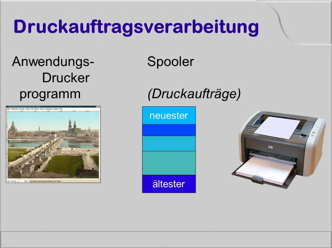 Druckauftragsverarbeitung Anwendungs- Spooler Drucker programm (Druckaufträge) neuester ältester