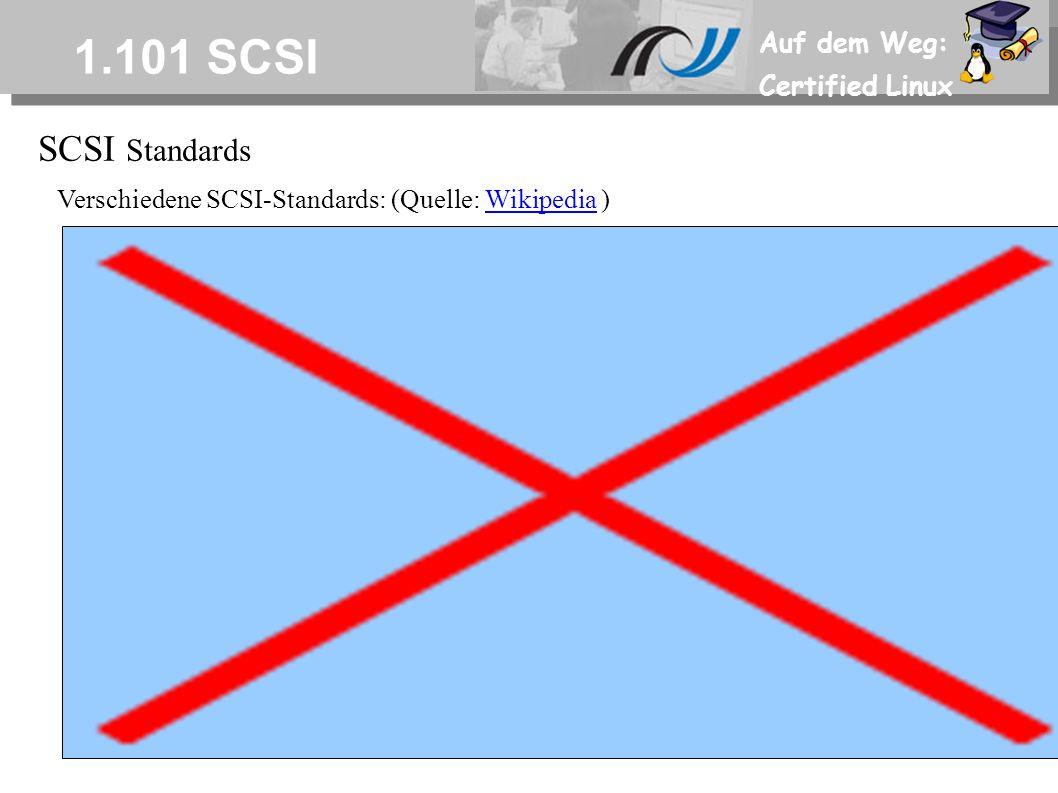 Auf dem Weg: Certified Linux 1.101 SCSI SCSI Standards Verschiedene SCSI-Standards: (Quelle: Wikipedia )Wikipedia