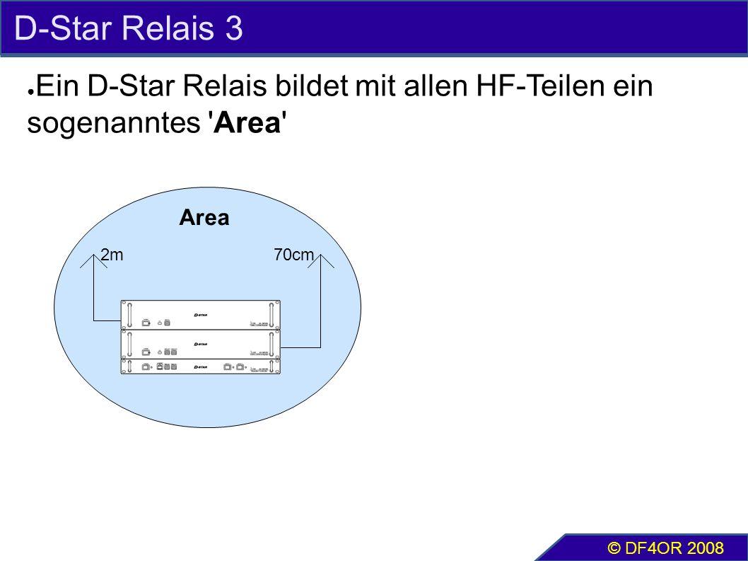 D-Star Relais 3 ● Ein D-Star Relais bildet mit allen HF-Teilen ein sogenanntes Area © DF4OR 2008 2m70cm Area