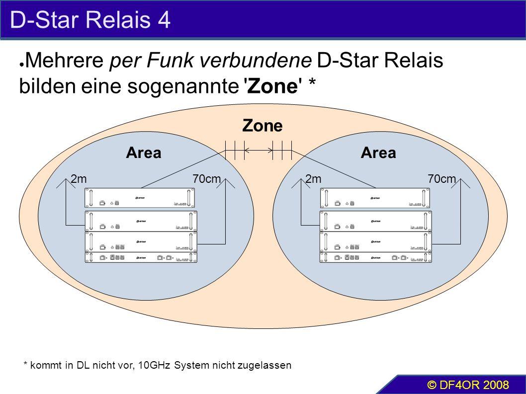 D-Star Relais 4 ● Mehrere per Funk verbundene D-Star Relais bilden eine sogenannte Zone * © DF4OR 2008 2m70cm Area 2m70cm Area Zone * kommt in DL nicht vor, 10GHz System nicht zugelassen