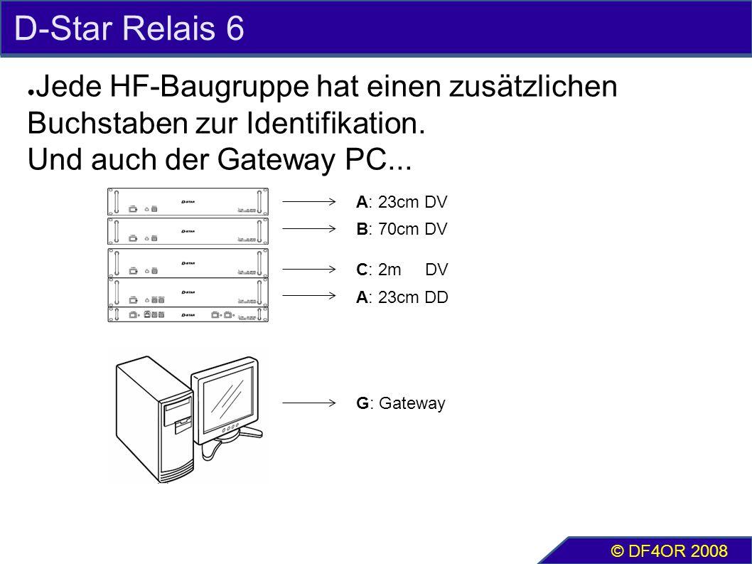 D-Star Relais 6 ● Jede HF-Baugruppe hat einen zusätzlichen Buchstaben zur Identifikation. Und auch der Gateway PC... © DF4OR 2008 A: 23cm DV B: 70cm D