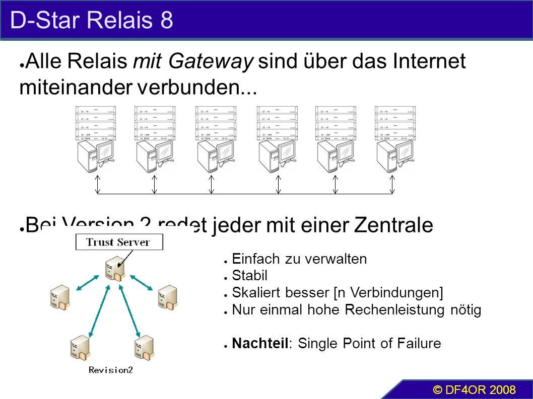D-Star Relais 8 ● Alle Relais mit Gateway sind über das Internet miteinander verbunden... ● Bei Version 2 redet jeder mit einer Zentrale © DF4OR 2008