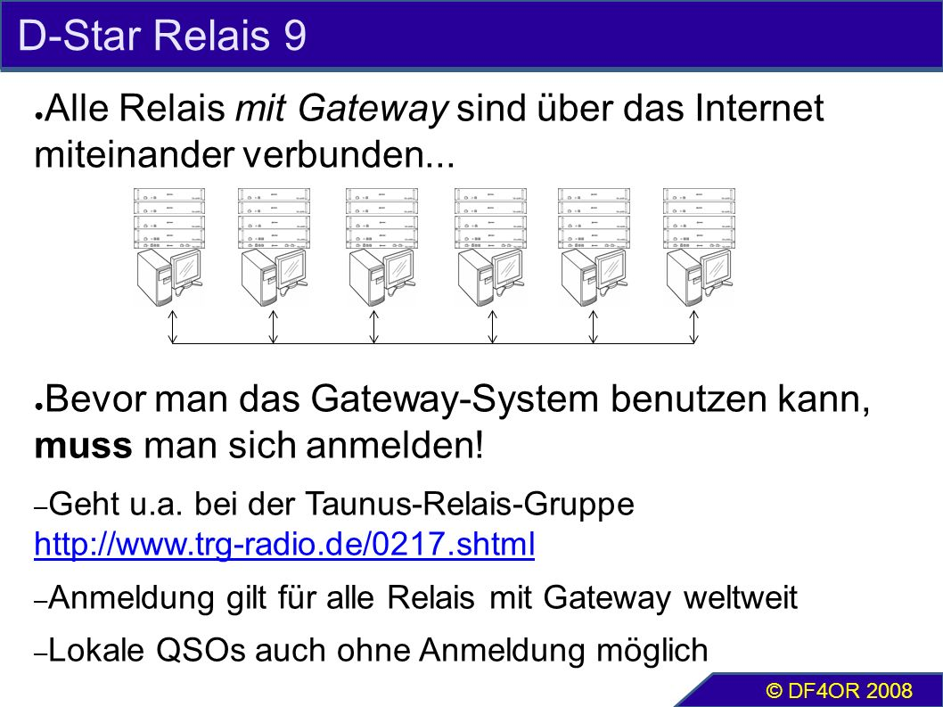 D-Star Relais 9 ● Alle Relais mit Gateway sind über das Internet miteinander verbunden... ● Bevor man das Gateway-System benutzen kann, muss man sich