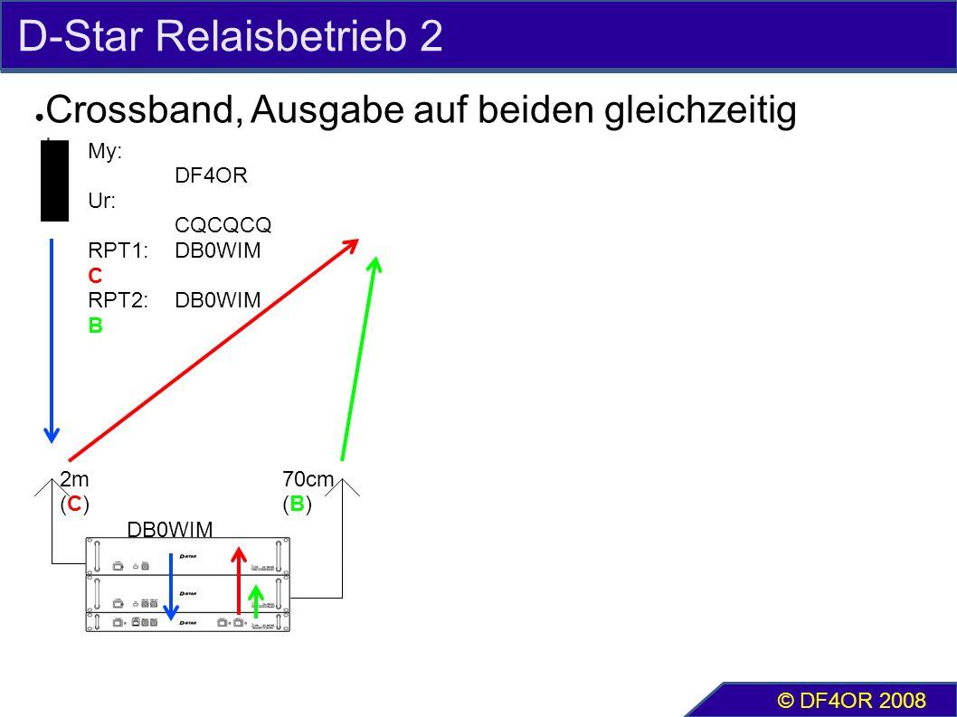 D-Star Relaisbetrieb 2 ● Crossband, Ausgabe auf beiden gleichzeitig © DF4OR 2008 2m (C) 70cm (B) My: DF4OR Ur: CQCQCQ RPT1:DB0WIM C RPT2:DB0WIM B DB0WIM
